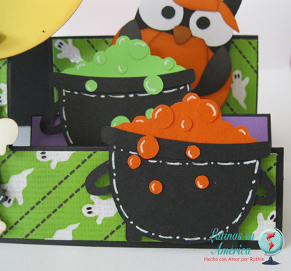 Brewing Beauties - Kadoodlebug Designs - Halloween Card - Step side card - Latinas en America - Ruthie Lopez DT 4