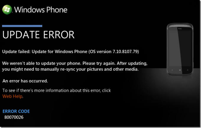 WindowsPhone7_HTCMozart_UpdateError_80070026