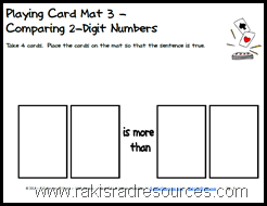 Free, printable e-book of mats to be used with playing cards on a variety of levels of math skills.