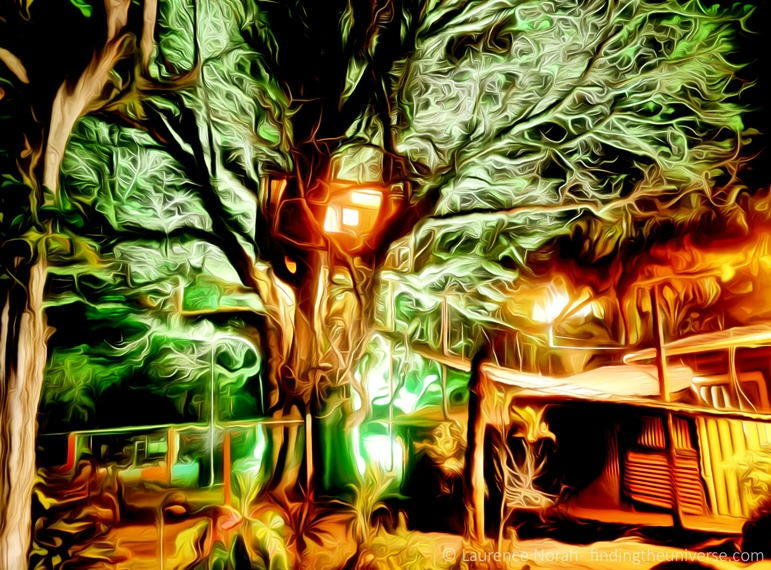 treehouse at night San Cristobal Island Galagagos Ecuador dream scaled 2