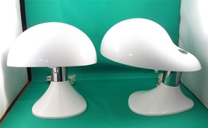 Biomorphic shape lamps with acrylic shade and chrome accents