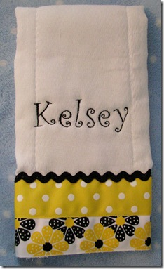 Yellow and Black Burp Cloth w/name