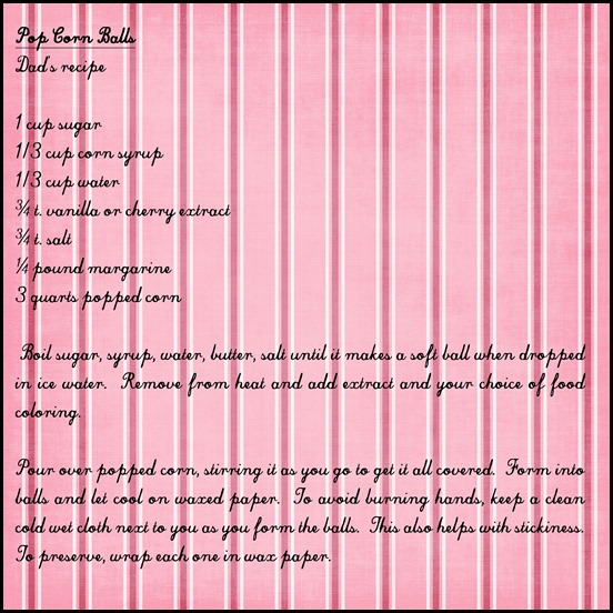popcorn balls on pink striped paper