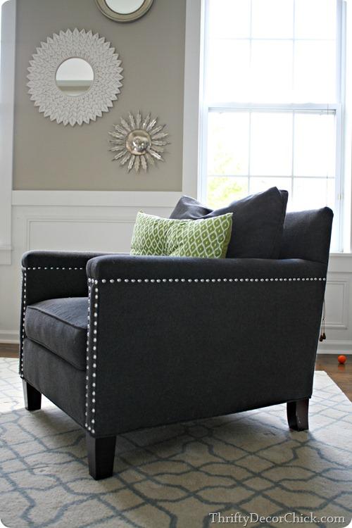 dark blue chair with nail head