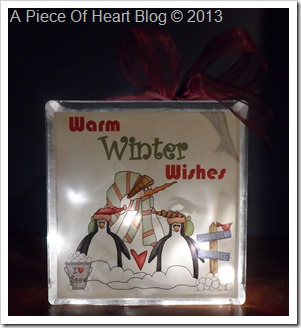Warm Winter Wishes Snowman Glass Block dark