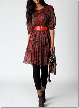 Karen Paisley Print Belted Chiffon Dress3