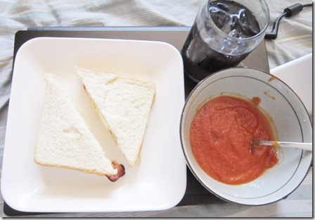 tomato soup, grilled cheese sandwich, 240baon