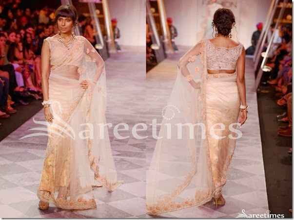 Tarun_Tahiliani_Peach_Net_Saree