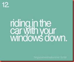 riding in the car..