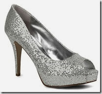 Nine West Silver Sequin Peep Toe Courts