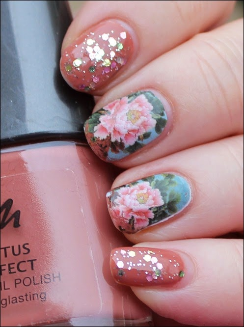 Flowers Blossoms Nail Art Nageldesign Water Decals Blumen Glitzer 00