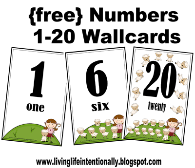 FREE Number Wall cards and Number Flashcards for Toddler and Preschoolers