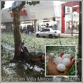 Granizo en Villa Mercedes provincia de San Luis, Argentina (22.1.14)