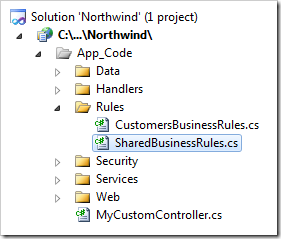 Shared Business Rules class implementation in a Web Site Factory project