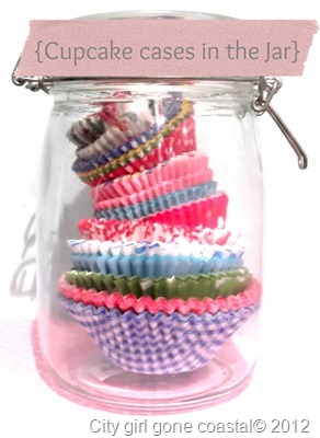 cupcake cases in the jar