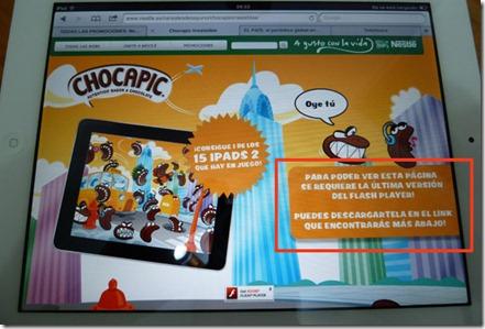 Web Chocapic vista con un iPad: es una web en Flash a la que no se podrá acceder. Sólo muestra una imagen con un mensaje pero no hay una alternativa en HTML.