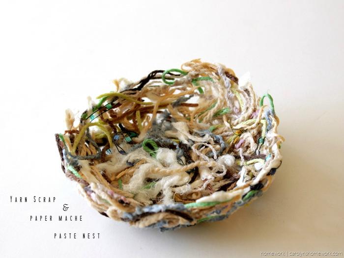 Yarn Scrap Paper Mache Nest via homework - carolynshomework (15)