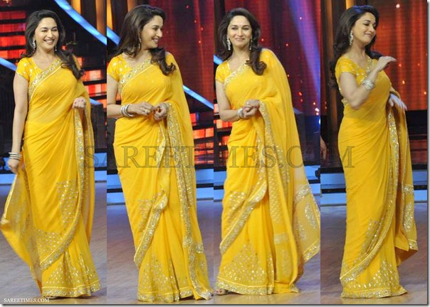 Madhuri_Dixit_Yellow_Embroidery_Saree