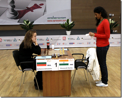 Stefanova vs Harika, Round 5, Game 2, Semi-Finals, World Women's Chess Championship 2012