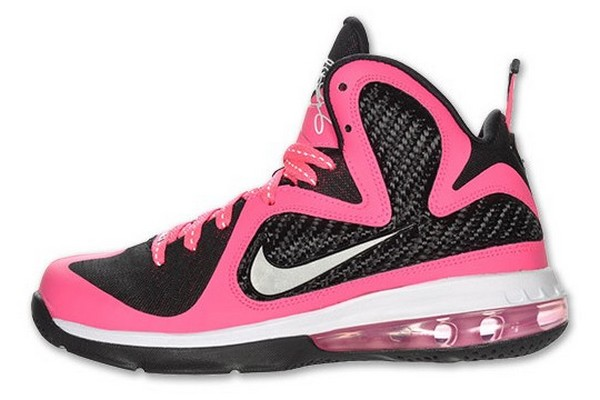 Kids Nike Air Max LeBron 9 Laser Pink Metallic Silver Black Shoes