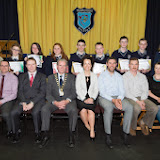 Tansition year students who received awards at the Mulroy College prize giving on Thursday night last Seated from left are  Martin Davis, Parmerica, Ian McGarvey, Donegal Mayor, Fiona Temple Principal, Jason Black, guest Speaker,  Tony McCarry, Parents Committtee and Scatha Farrell, BOM. Back row  Catherine McHugh, Deputy Principal and Aisling McAteer. Photo Clive Wasson.