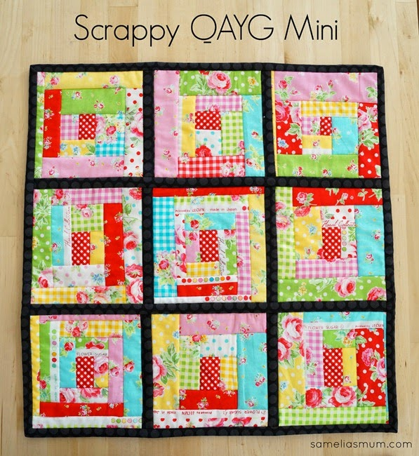 Scrappy QAYG Mini Quilt by SameliasMum