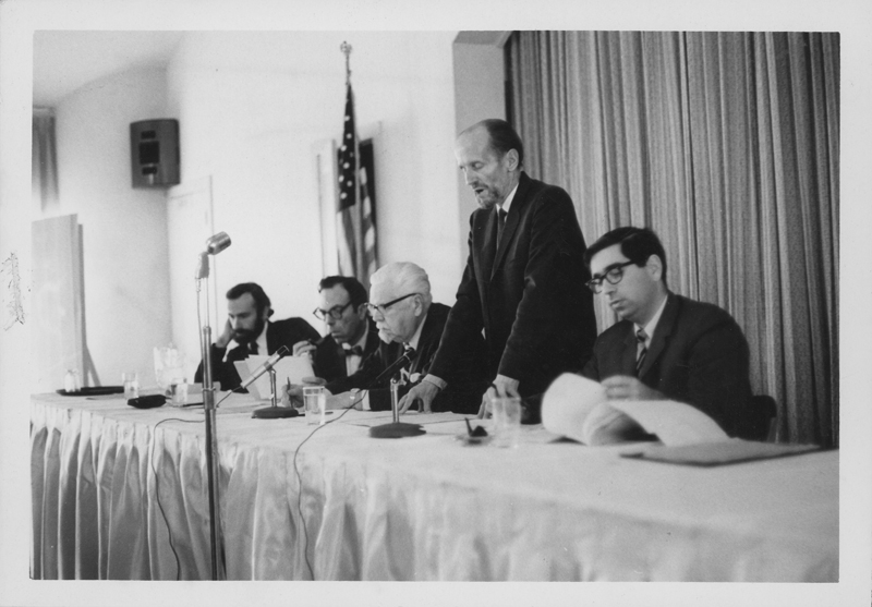 ONE Incorporated discussion panel including noted doctor Richard Palour (second from left). 1969.