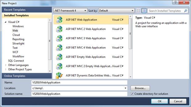 New ASP.NET Web Application in Visual Studio 2010