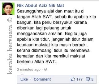 Tazkirah Terkini Dari TG Nik Aziz Dalam FB Beliau