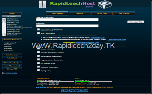 New Server Rapidleech - Rapidleech v3.45.1Final Release 03-February-2012 - 134 Plugins - Premium Accounts : wupload, oron