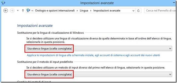 Impostazioni avanzate Lingua Windows 8