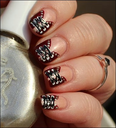 Nageldesign Nail Art Fabrics Corsage Mieder 03