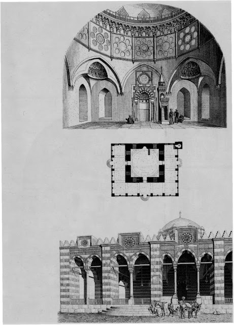 Mosque of Sinan Pasha, elevation & plan, 16th century. Prisse's elevations and plan of the mosque of Sinan Pasha convey the Ottoman impact on Egyptian architecture. He dendes self-conscious designs that boast magnificence, highlighting the structure's squatness and the lack of relationship between prayer hall and sahn.