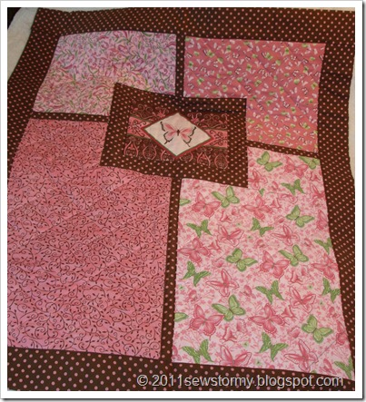 PInk and brown crib quilt