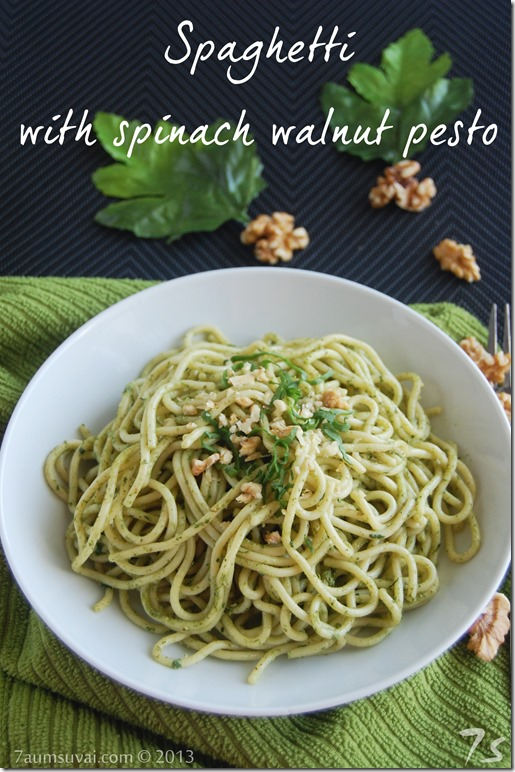 Spaghetti with spinach walnut pesto
