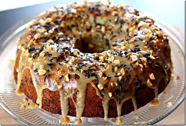 Banana Chocolate Sprinkle Cake with Peanut Butter Glaze