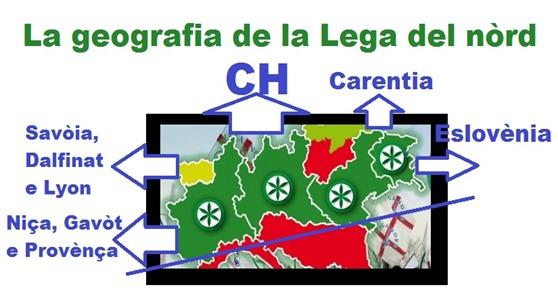 mapa novèla de la Lega dal Nòrd esquema