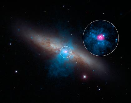 galáxia M82 e o pulsar
