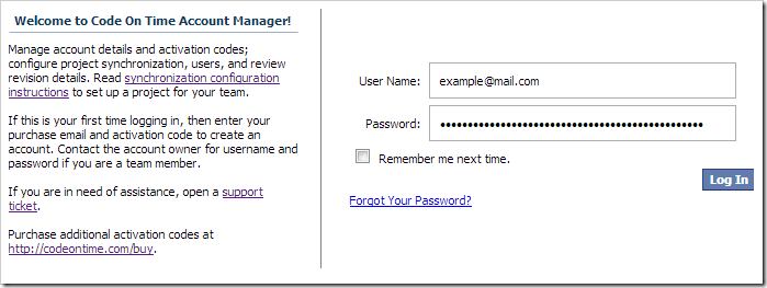 Logging in to Code On Time Account Manager.