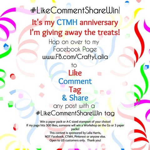 Join the Anniversary party over at www.fb.com/CraftyLalia to help Lalia celebrate her 3rd CTMH anniversary!