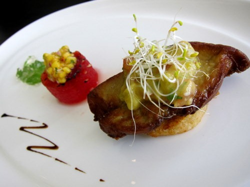 A Duet, For Love, For Life: Crisp-seared Foie Gras marinated with Seven Spices on Caramelised Watermelon