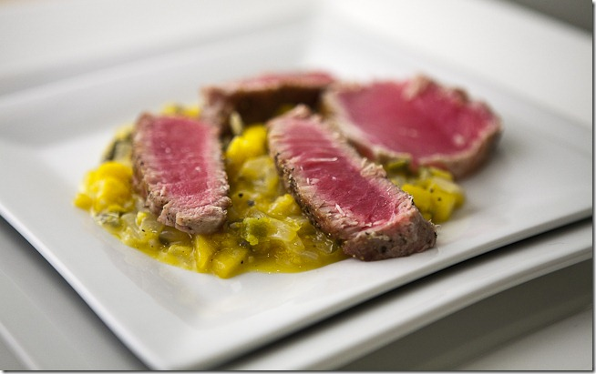 Seared Tuna Over Mango Peach Salsa