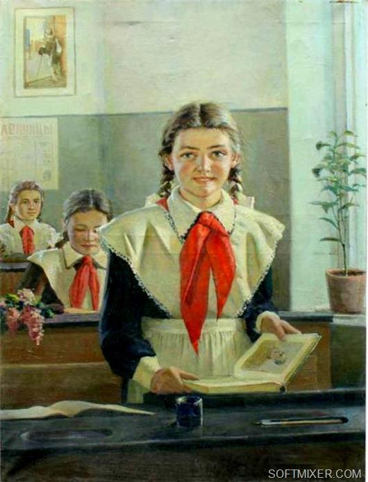 советские шкоольницы школьники фото рисунки