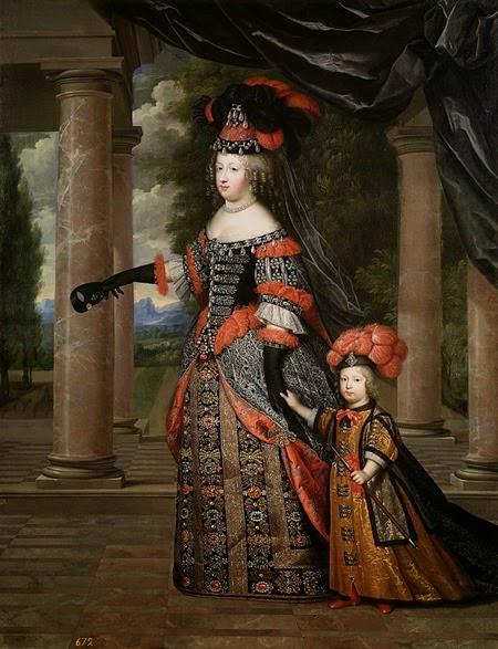 María Teresa con su hijo, el Delfín de Francia