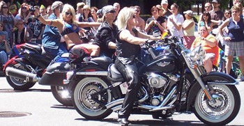 Proud ladies on Harleys