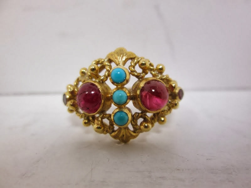 18k Gold Ring With Gemstones