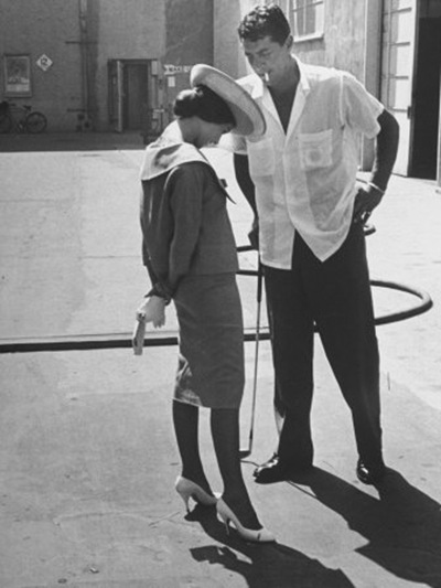 grant-allan-entertainer-dean-martin-talking-with-actress-pier-angeli-on-the-lot-of-a-studio