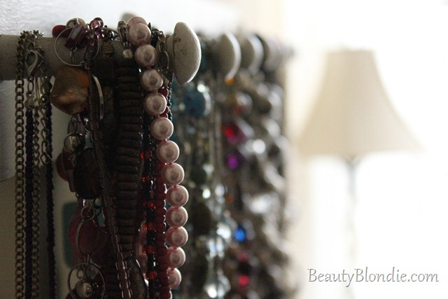 Organizing Colorful Necklaces. Red, Teal, Blue, Silver, Grey, Glod, Black and White