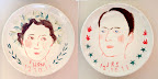 Wedding portraits on large porcelain plates I made when we got home. I just went to one of those Paint Your Own Pottery places where kids have their birthday parties. It's really hard because the glazes are essentially invisible ink until they've been fired, so you kind of fly blind when you're painting. I'm proud of the concept, but must learn a better technique before I can do it for other people.