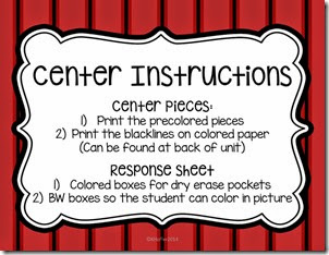 In this unit, I added different response sheet options. Colored boxes for the dry erase pockets and b/w for the kiddos to color in. Along with the usual two color options for the centers.